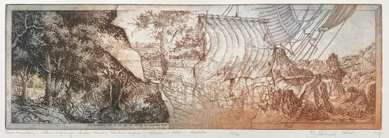 Grafika do salonu artysty Krzysztof Wieczorek pod tytułem Grafiki Horyzontalne: Pejzaż horyzontalny z wielkim zaginionym okrętem Herculesa Pieterszoona Seghersa