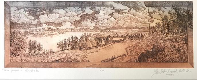 Grafika do salonu artysty Krzysztof Wieczorek pod tytułem Dwa jeziora