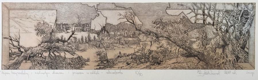 Grafika do salonu artysty Krzysztof Wieczorek pod tytułem Pejzaż horyzontalny z uschniętymi drzewami i jeziorem…