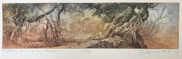 Grafika do salonu artysty Krzysztof Wieczorek pod tytułem Na południowy wschód od Gandawy…