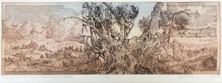 Grafika do salonu artysty Krzysztof Wieczorek pod tytułem Wędrując przez szerokie doliny Herculesa Petershona