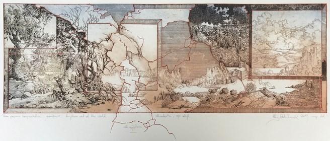 Grafika do salonu artysty Krzysztof Wieczorek pod tytułem Dwa pejzaże horyzontalne - przenikanie