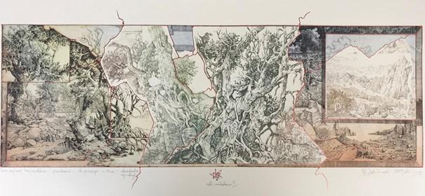 Grafika do salonu artysty Krzysztof Wieczorek pod tytułem Dwa pejzaże horyzontalne - przenikanie II