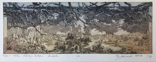 Grafika do salonu artysty Krzysztof Wieczorek pod tytułem Pejzaż z zatoką i skalistym brzegiem