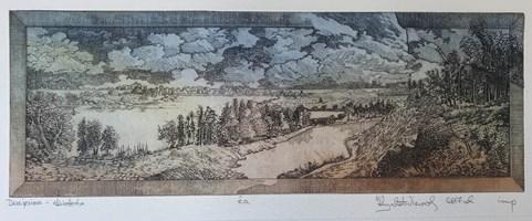 Grafika do salonu artysty Krzysztof Wieczorek pod tytułem Dwa jeziora - akwaforta