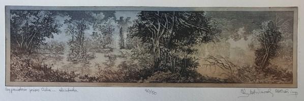 Grafika do salonu artysty Krzysztof Wieczorek pod tytułem Czy pamiętacie jezioro Ciche … akwaforta odbitka 30/50