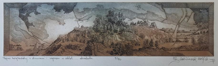 Grafika do salonu artysty Krzysztof Wieczorek pod tytułem Pejzaż horyzontalny z chmurami i wzgórzem w oddali … akwaforta odbitka 7/50