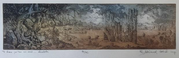 Grafika do salonu artysty Krzysztof Wieczorek pod tytułem To drzewo już tam nie rośnie … akwaforta odbitka 20/50