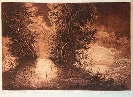 Grafika do salonu artysty Krzysztof Wieczorek pod tytułem Drugi pejzaż z wędrowcem