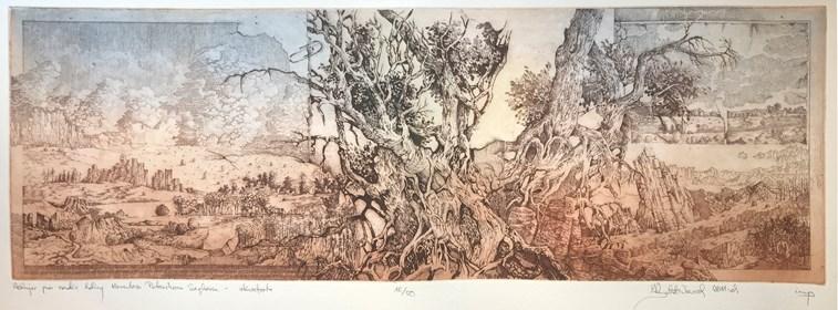 Grafika do salonu artysty Krzysztof Wieczorek pod tytułem Wędrując przez szerokie doliny Herculesa petershona Seghersa 16/50