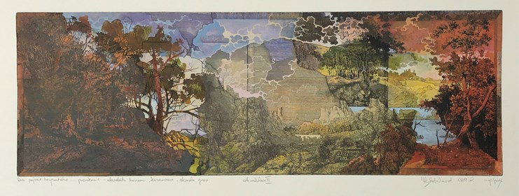Grafika do salonu artysty Krzysztof Wieczorek pod tytułem Dwa pejzaże horyzontale … przenikanie - akwaforta barwiona, akwarela, gwasz. Odbitka unikatowa XI
