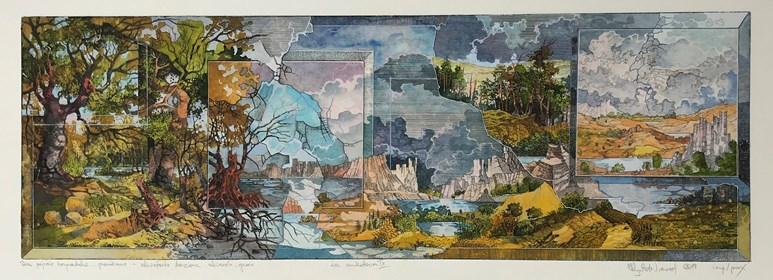 Grafika do salonu artysty Krzysztof Wieczorek pod tytułem Dwa pejzaże horyzontale … przenikanie - akwaforta barwiona, kaszerowana, akwarela, gwasz. Odbitka unikatowa IX