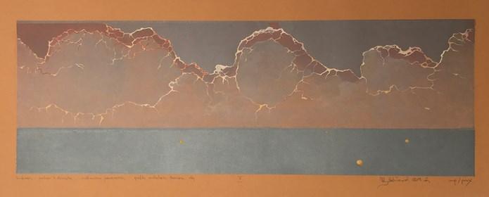Grafika do salonu artysty Krzysztof Wieczorek pod tytułem Dunkierka … przestrzeń X dziesiąta … mechaniczna pomarańcza - grafika unikatowa barwiona, olej X