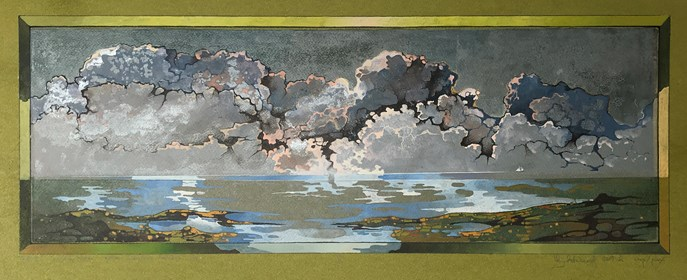 Grafika do salonu artysty Krzysztof Wieczorek pod tytułem Dunkierka … przestrzeń piąta - grafika unikatowa barwiona, olej V