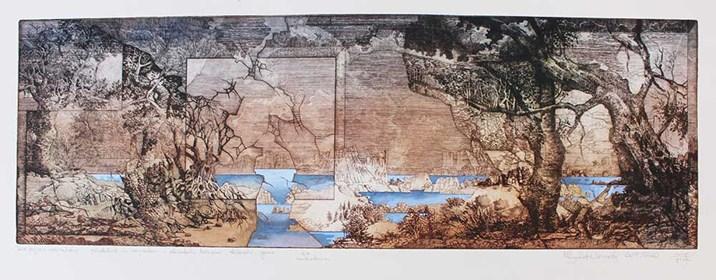 Grafika do salonu artysty Krzysztof Wieczorek pod tytułem Dwa pejzaże horyzontalne... gdziekolwiek za horyzontem