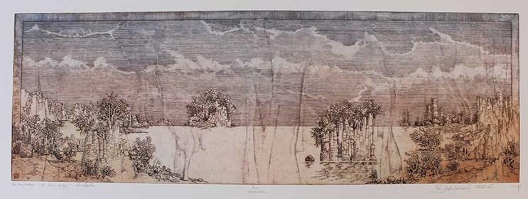 Grafika do salonu artysty Krzysztof Wieczorek pod tytułem Za horyzontem lub dwie wyspy