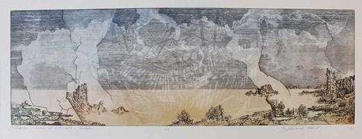 Grafika do salonu artysty Krzysztof Wieczorek pod tytułem Za horyzontem - w dowolnym miejscu poza światem