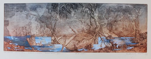 Living room print by Krzysztof Wieczorek titled A Dutch sketch of a wooden boat ... anywhere, beyond the horizon