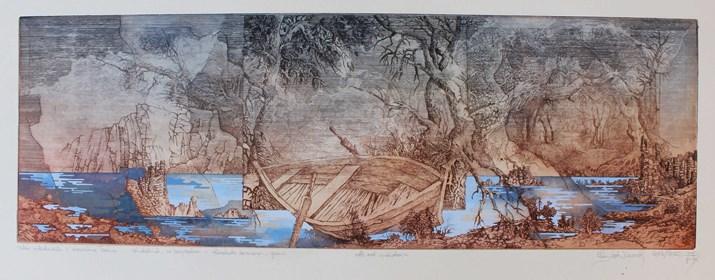 Grafika do salonu artysty Krzysztof Wieczorek pod tytułem Szkic niderlandzki z drewnianą łodzią... gdziekolwiek, za horyzontem