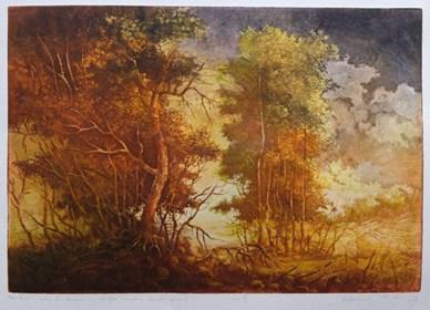 Grafika do salonu artysty Krzysztof Wieczorek pod tytułem noc i dzień…szkic do obrazu - intaglio III