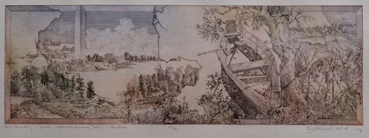 Grafika do salonu artysty Krzysztof Wieczorek pod tytułem Pejzaż horyzontalny z jeziorem i zapomnianą drewnianą łodzią … 11/50
