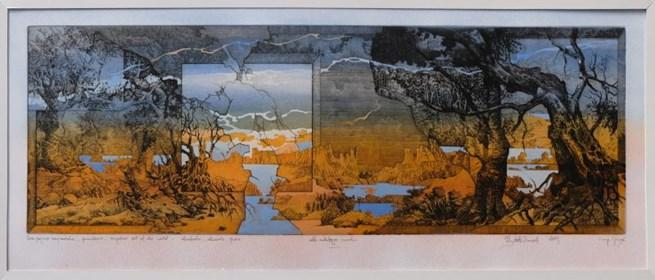 Grafika do salonu artysty Krzysztof Wieczorek pod tytułem Dwa pejzaże horyzontalne - odbitka unikatowa IV