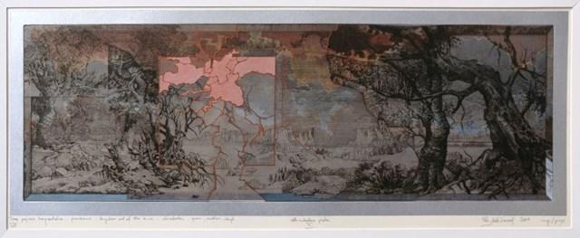 Grafika do salonu artysty Krzysztof Wieczorek pod tytułem Dwa pejzaże horyzontalne - przenikanie Anywhere out of the time odbitka unikatowa V