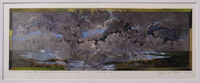 Grafika do salonu artysty Krzysztof Wieczorek pod tytułem Szkic niderlandzki z drewnianą łodzią - odbitka unikatowa szósta