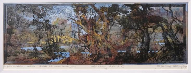Grafika do salonu artysty Krzysztof Wieczorek pod tytułem Dwa pejzaże horyzontalne przenikanie, odbitka unikatowa XIII