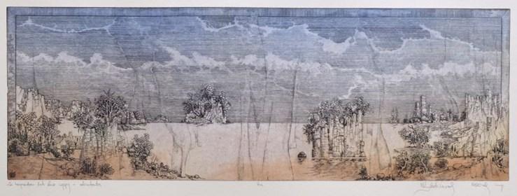 Grafika do salonu artysty Krzysztof Wieczorek pod tytułem Za horyzontem dwie wyspy