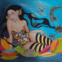Living room painting by Iwona Wierkowska-Rogowska titled Purr