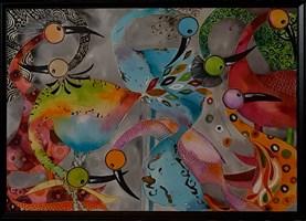 Living room painting by Iwona Wierkowska-Rogowska titled  Birds of joy