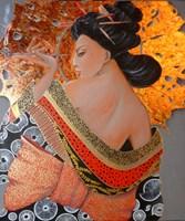 Living room painting by Iwona Wierkowska-Rogowska titled  Geisha III