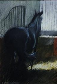 Obraz do salonu artysty Agnieszka Słowik-Kwiatkowska pod tytułem Kary Lipicaner w stajni Topolczanki