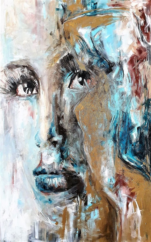 Living room painting by J. Aurelia Sikiewicz-Wojtaszek titled SHINE