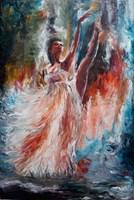 Living room painting by J. Aurelia Sikiewicz-Wojtaszek titled Ballet dancer II