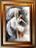 Living room painting by J. Aurelia Sikiewicz-Wojtaszek titled Ballet dancer V
