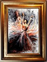 Living room painting by J. Aurelia Sikiewicz-Wojtaszek titled Balet dancer IV
