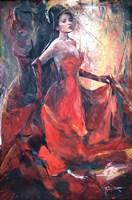 Living room painting by J. Aurelia Sikiewicz-Wojtaszek titled  Scarlet poem