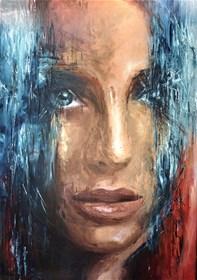 Living room painting by J. Aurelia Sikiewicz-Wojtaszek titled  Selene's look