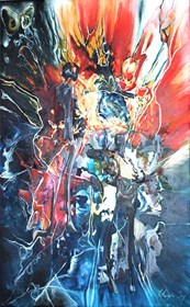 Obraz do salonu artysty J. Aurelia Sikiewicz-Wojtaszek pod tytułem Przenikanie zmysłów wszechświata