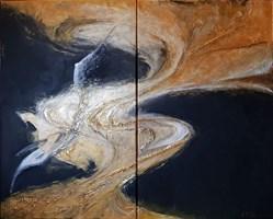"""Living room painting by J. Aurelia Sikiewicz-Wojtaszek titled  Diptych """"Wrapped"""""""