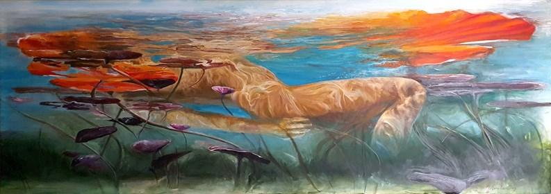 Obraz do salonu artysty J. Aurelia Sikiewicz-Wojtaszek pod tytułem Wodny świat