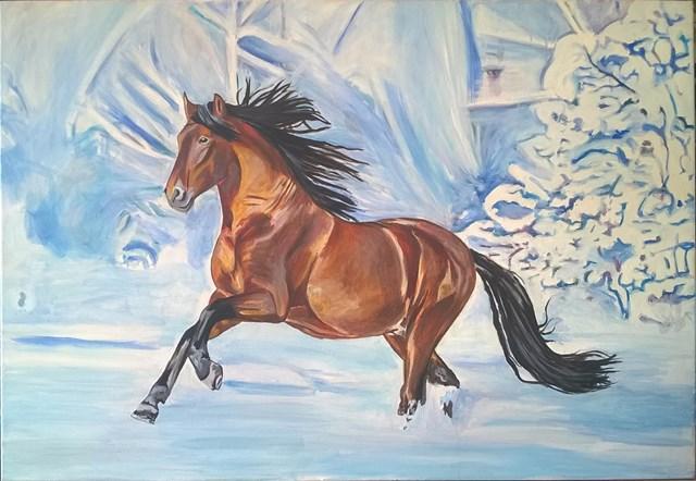 Obraz do salonu artysty Ilona Foryś pod tytułem ,,Zimowy galop''