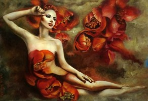 """Living room painting by Marlena Selin titled From the cycle shaping matter """"Creating dreams V"""""""