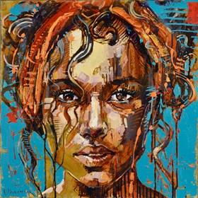 Obraz do salonu artysty Marcin Mikołajczak pod tytułem Dziewczynka w chuście