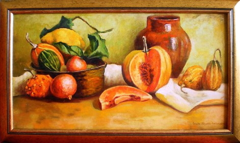 Living room painting by Beata Krystek-Borkowska titled Still life with pumpkins