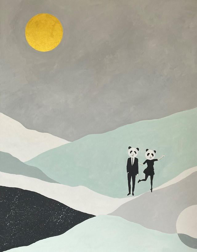 Obraz do salonu artysty Urszula Teperek pod tytułem PANDA MOOD IN THE GOLDEN MOONLIGHT