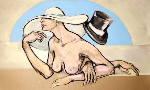 Obraz do salonu artysty Aleksandra Wiszniewska pod tytułem Dziewczyna w kapeluszu jedzie do Paryża