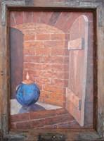 Obraz do salonu artysty Jan Bembenista pod tytułem Martwa natura-piwniczna,z niebieską świecą